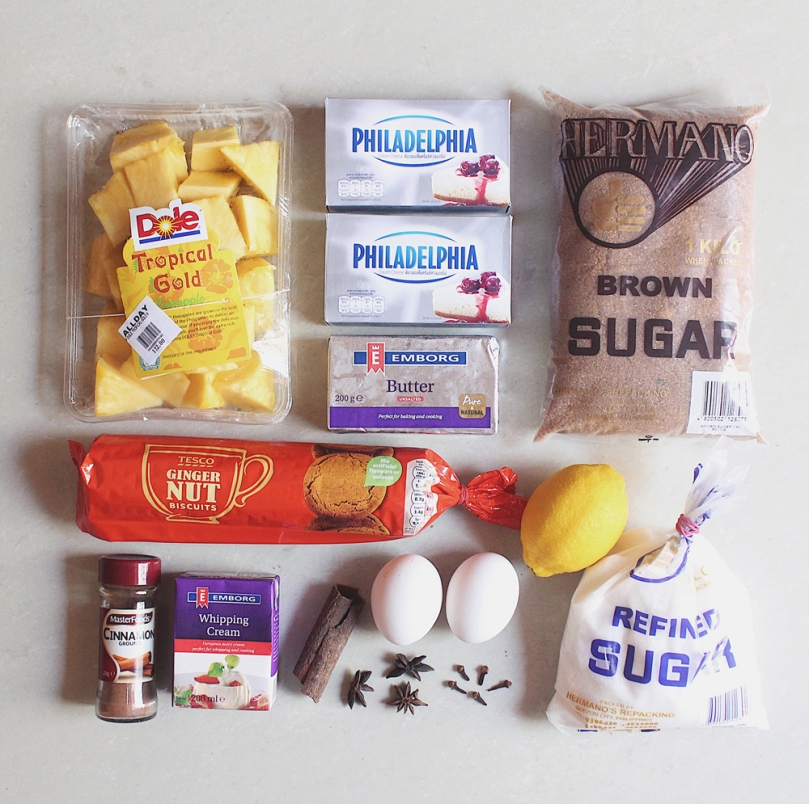Spice-roasted Pineapple Cheesecake Ingredients