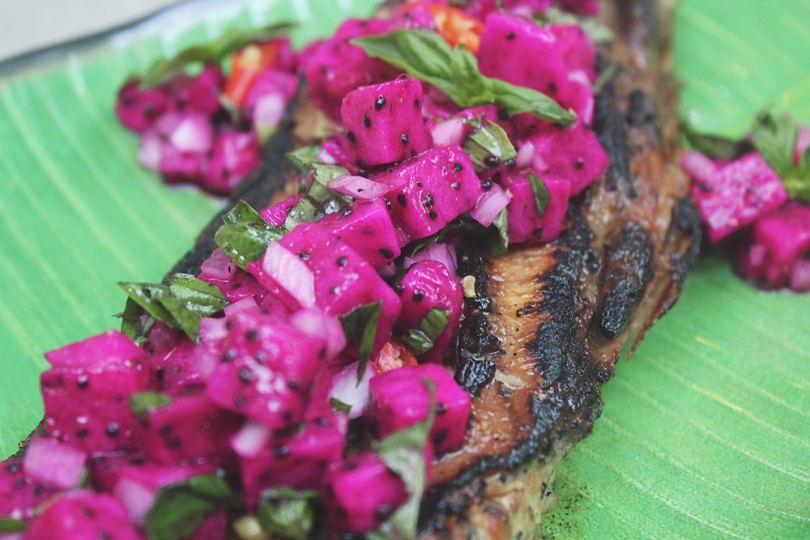 Dragon-flamed Tuna Belly with Fiery Dragon Fruit Salsa