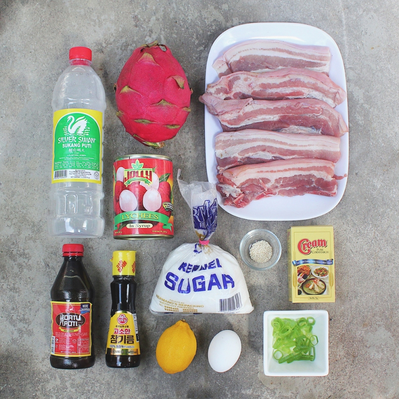Dragon & Lychee Pork Ingredients