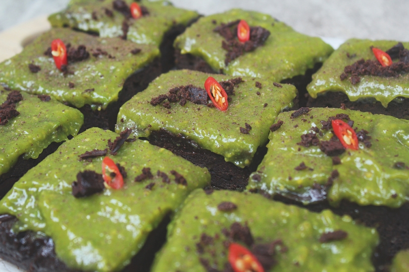 Fudgy Avocado-Chilli Brownies
