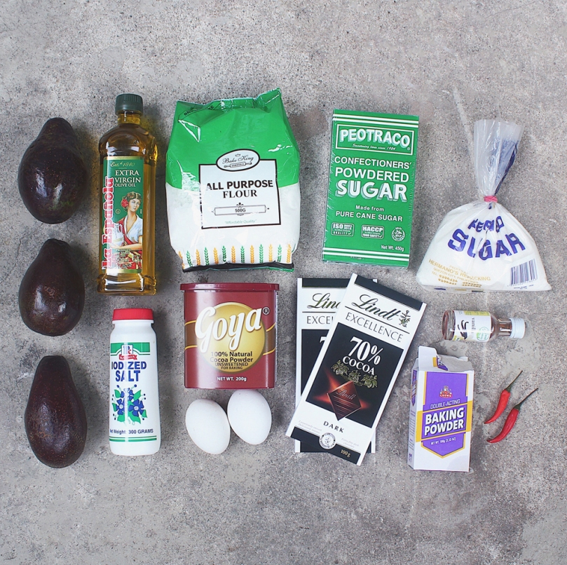 Fudgy Avocado-Chilli Brownies Ingredients