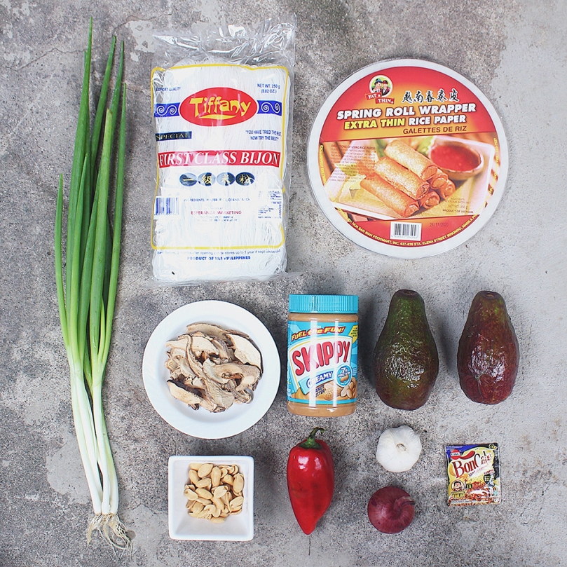 Avocado & Shiitake Rice Paper Rolls Ingredients