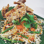 Green Papaya Salad with Crispy Fried Soft-shell Crabs