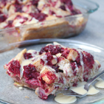 Raspberry, Almond, and White Chocolate Bread Pudding with Vanilla Cream Sauce
