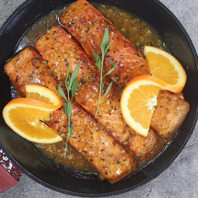 Orange-glazed Salmon with Tarragon