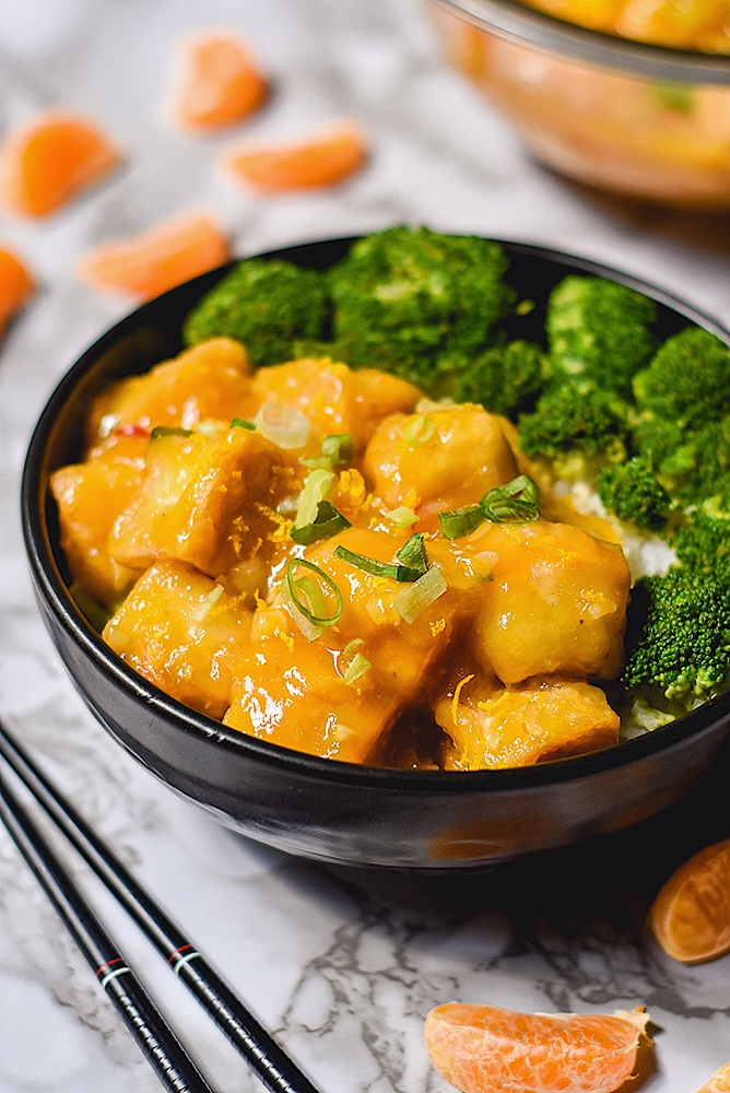 Crispy Orange Tofu with Broccoli