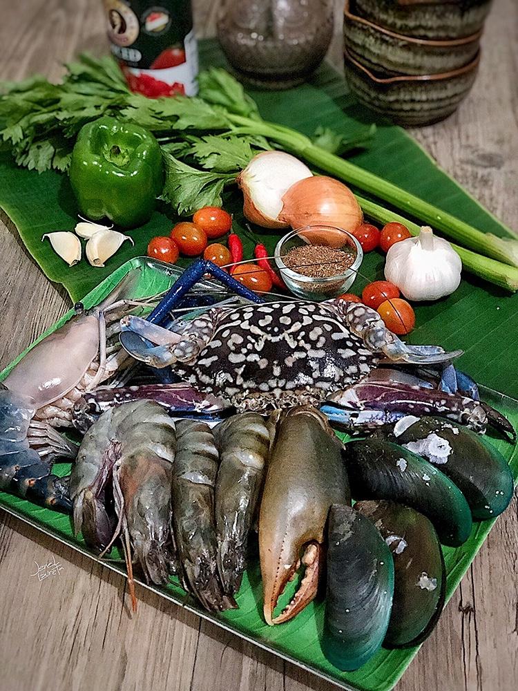 Deconstructed Spicy Seafood Jambalaya Ingredients
