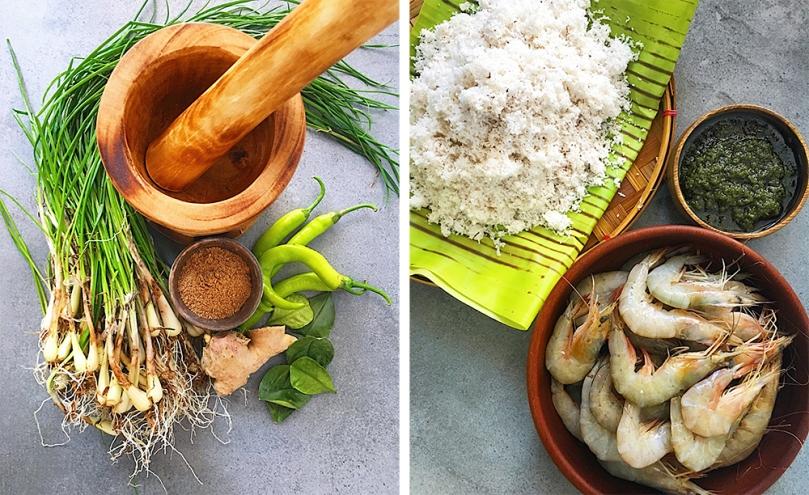 Pinais na Hipon at Niyog na may Palapa Ingredients