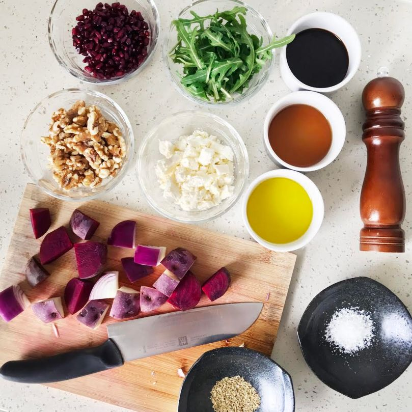 Roasted Purple Winter Vegetable Salad Ingredients
