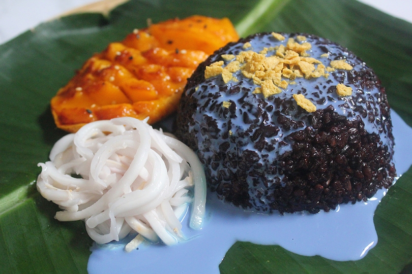 Black Sticky Rice with Grilled Mango & Blue Coconut Sauce