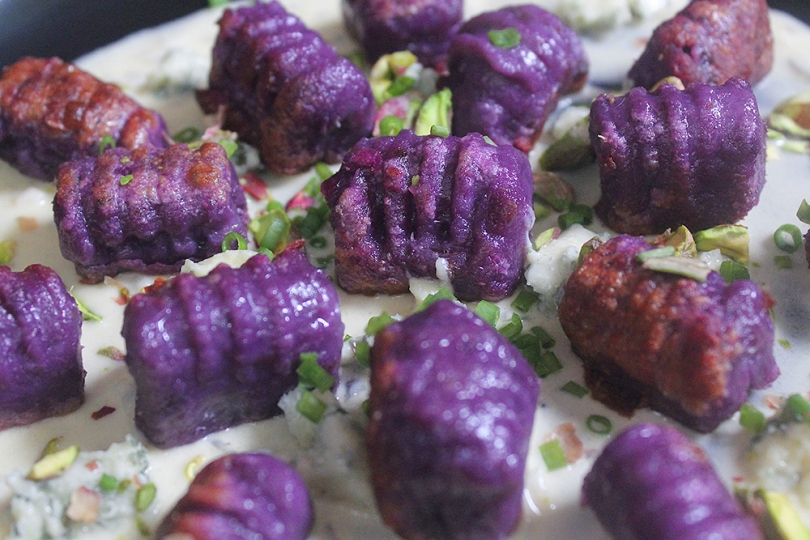 Purple Sweet Potato Gnocchi with Creamy Parmesan Sauce, Danablu & Pistachios