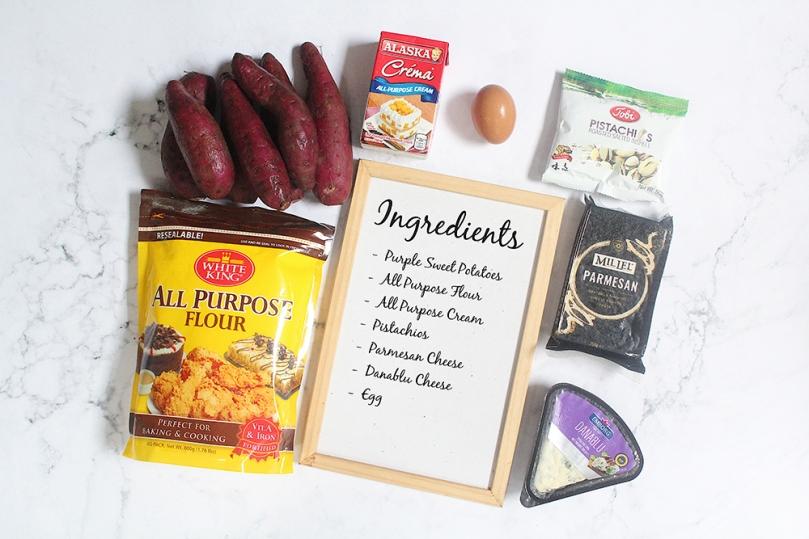 Purple Sweet Potato Gnocchi with Creamy Parmesan Sauce, Danablu & Pistachios Ingredients