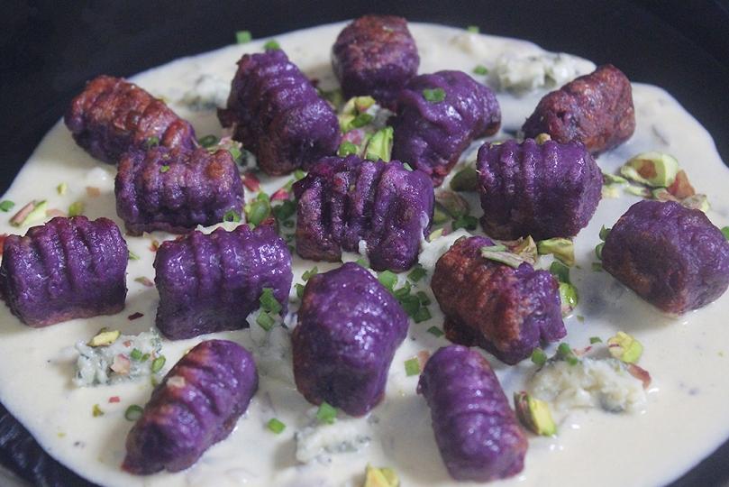 Purple Sweet Potato Gnocchi with Creamy Parmesan Sauce, Danablu & Pistachios