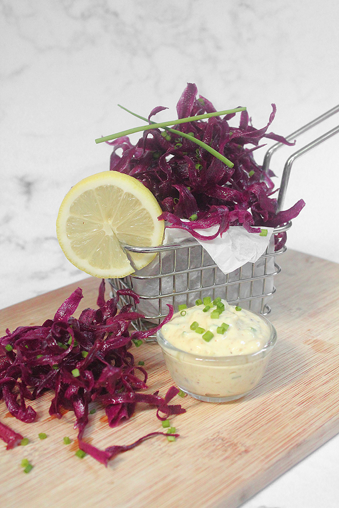 Purple Sweet Potato Crisps with Easy Roasted Garlic & Chive Aïoli