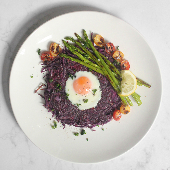 Purple Sweet Potato Rösti Egg-in-a-Hole