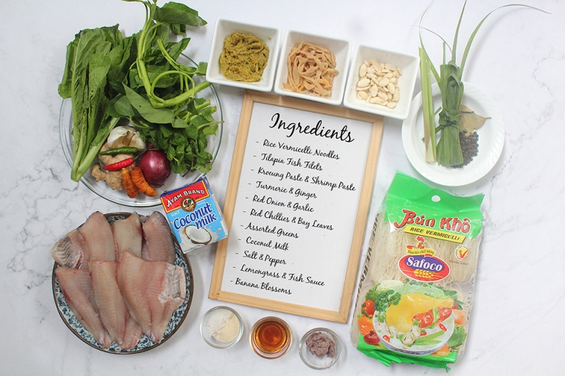 Num Banh Chok (Fish Noodle Soup) Ingredients
