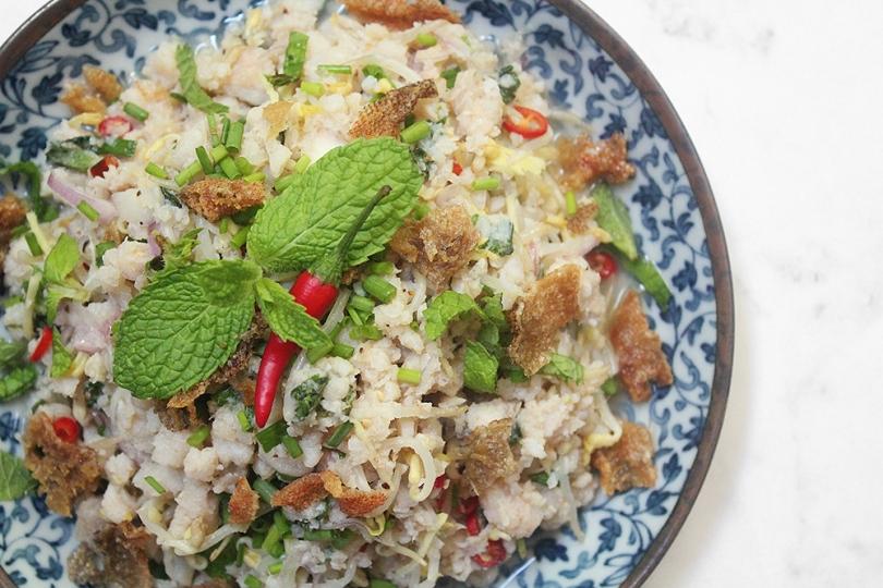 Laab Paa (Fish Herb Salad)