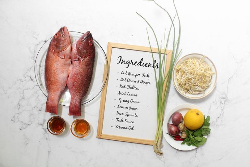 Laab Paa (Fish Herb Salad) Ingredients