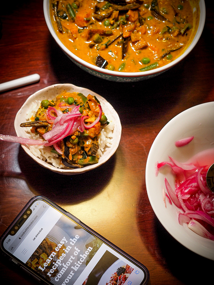 Banana Peel Curry with Coconut Rice & Pickled Onion